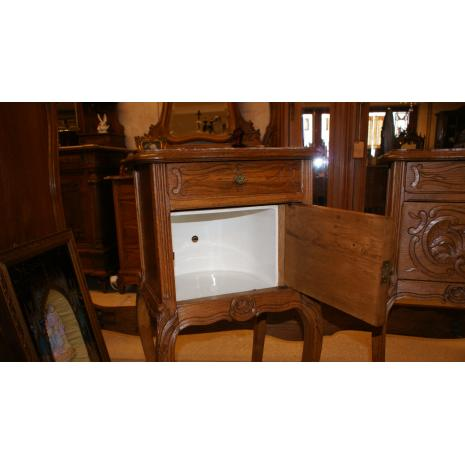 Louis XV Oak Nightstand open