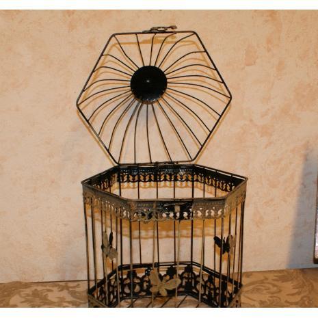 Hexagonal Bird Cage Open