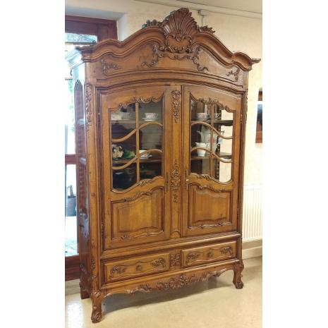 Louis XV Oak China Cabinet