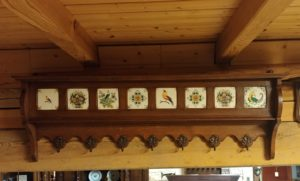 oak hat rack with tiles