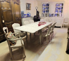 Chalk-painted French Provence Dining Set